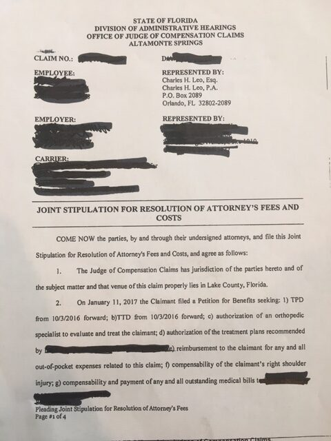Joint Stipulation of Attorney's fees page 1
