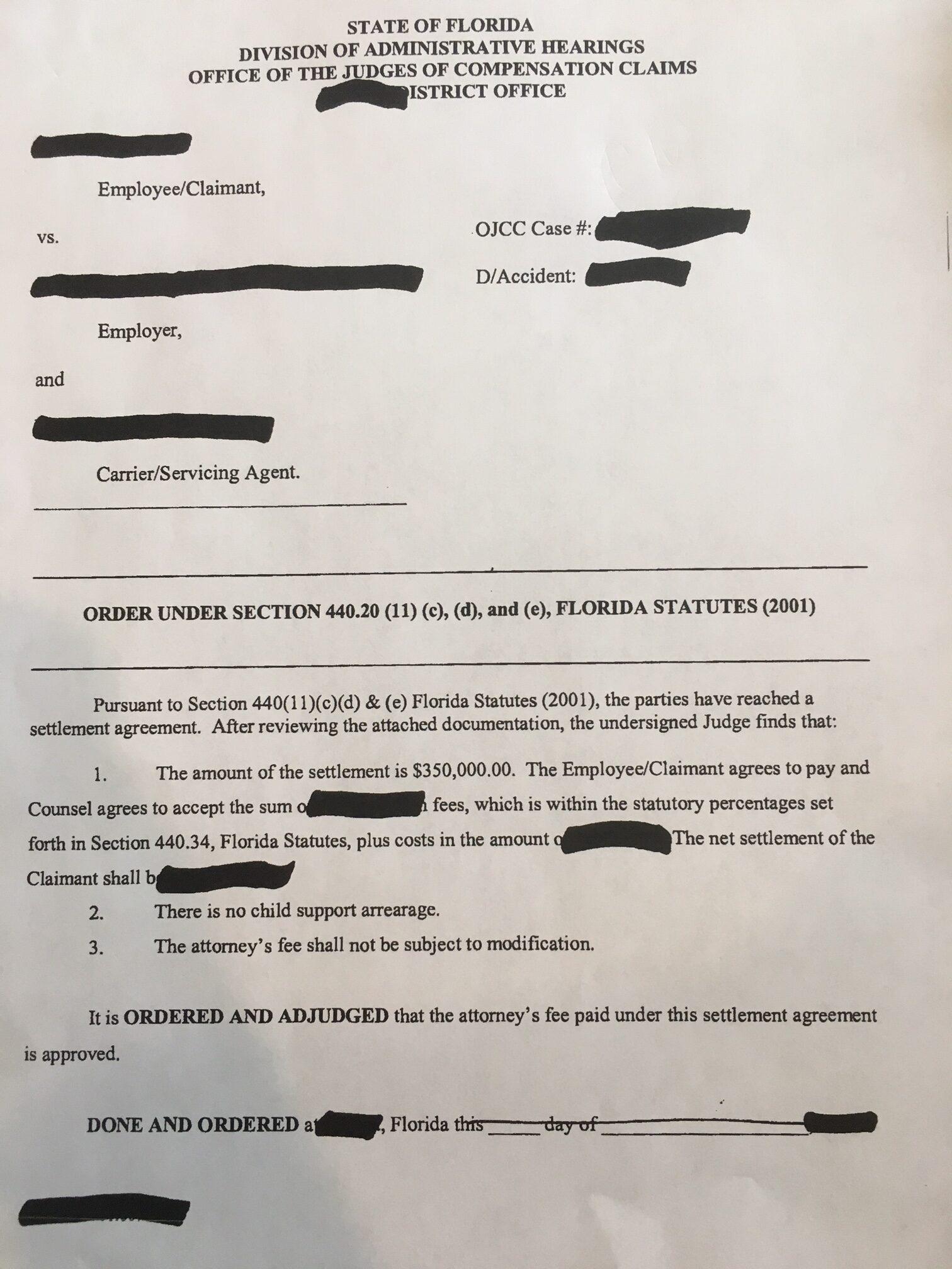 Job Injury Settlement